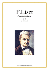 Cover icon of Consolations (4-6) sheet music for piano solo by Franz Liszt, classical score, easy/intermediate skill level