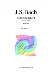 Cover icon of The Art of the Fugue, BWV 1080 - Contrapunctus I (parts) sheet music for string quartet by Johann Sebastian Bach, classical score, intermediate skill level