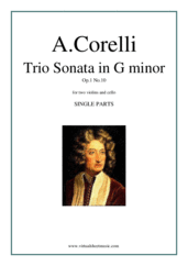 Cover icon of Trio Sonata in G minor Op.1 No.10 (COMPLETE) sheet music for two violins and cello by Arcangelo Corelli, classical score, intermediate skill level