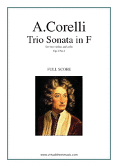 Cover icon of Trio Sonata in F major Op.1 No.1 (COMPLETE) sheet music for two violins and cello by Arcangelo Corelli, classical score, intermediate skill level