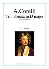 Cover icon of Trio Sonata in D major Op.1 No.3 (COMPLETE) sheet music for two violins and cello by Arcangelo Corelli, classical score, intermediate skill level