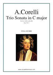 Cover icon of Trio Sonata in C major Op.1 No.7 (COMPLETE) sheet music for two violins and cello by Arcangelo Corelli, classical score, intermediate skill level