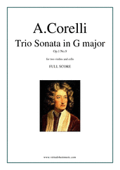 Cover icon of Trio Sonata in G major Op.1 No.9 (COMPLETE) sheet music for two violins and cello by Arcangelo Corelli, classical score, intermediate skill level