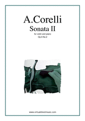 Cover icon of Sonata Op.5 No.2 sheet music for violin and piano by Arcangelo Corelli, classical score, intermediate skill level
