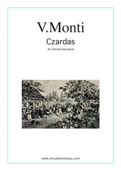 Cover icon of Czardas, gypsy airs sheet music for clarinet and piano by Vittorio Monti, classical score, intermediate/advanced skill level