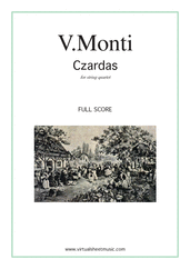 Cover icon of Czardas, easy gypsy airs (f.score) sheet music for string quartet by Vittorio Monti, classical score, intermediate/advanced skill level