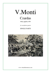 Cover icon of Czardas, easy gypsy airs (parts) sheet music for saxophone quartet by Vittorio Monti, classical score, intermediate/advanced skill level