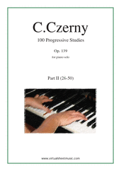 Cover icon of Progressive Studies, 100 Op.139, Part II sheet music for piano solo by Carl Czerny, classical score, easy/intermediate skill level