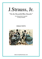 Cover icon of The Blue Danube (parts) sheet music for string quintet (quartet) or string orchestra by Johann Strauss, Jr., classical score, intermediate skill level