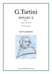 Cover icon of Sonata Op.1 No.10 sheet music for violin and piano by Giuseppe Tartini, classical score, intermediate skill level