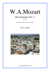 Cover icon of Divertimento No.1 K136 (f.score) sheet music for string quartet or string orchestra by Wolfgang Amadeus Mozart, classical score, intermediate skill level