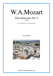 Cover icon of Divertimento No.3 K138 (f.score) sheet music for string quartet or string orchestra by Wolfgang Amadeus Mozart, classical score, intermediate skill level