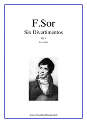 Cover icon of Six Divertimentos Op.1 sheet music for guitar solo by Fernando Sor, classical score, intermediate/advanced skill level