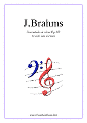 Cover icon of Concerto in A minor Op.102 sheet music for violin, cello and piano by Johannes Brahms, classical score, advanced skill level