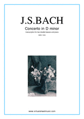 Cover icon of Concerto in D minor BWV 1043 (Double Concerto) sheet music for two double-basses and piano by Johann Sebastian Bach, classical score, intermediate/advanced skill level
