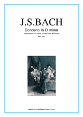 Cover icon of Concerto in D minor BWV 1043 (Double Concerto) sheet music for two flutes and piano by Johann Sebastian Bach, classical score, intermediate/advanced skill level
