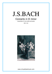 Cover icon of Concerto in D minor BWV 1043 (Double Concerto) sheet music for two cellos and piano by Johann Sebastian Bach, classical score, intermediate/advanced skill level