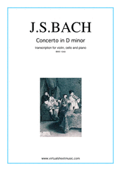 Cover icon of Concerto in D minor BWV 1043 (Double Concerto) sheet music for violin, cello and piano by Johann Sebastian Bach, classical score, intermediate/advanced skill level