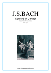 Cover icon of Concerto in D minor BWV 1043 (Double Concerto) sheet music for two violas and piano by Johann Sebastian Bach, classical score, intermediate/advanced skill level