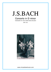 Cover icon of Concerto in D minor BWV 1043 (Double Concerto) sheet music for viola, double-bass and piano by Johann Sebastian Bach, classical score, intermediate/advanced skill level