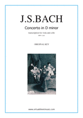 Cover icon of Concerto in D minor BWV 1043 (Double Concerto) - original key sheet music for viola, cello and piano by Johann Sebastian Bach, classical score, intermediate/advanced skill level