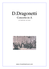 Cover icon of Concerto in A major sheet music for double-bass and piano by Domenico Dragonetti, classical score, advanced skill level