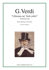 Cover icon of Libiamo ne' lieti calici (Drinking Song), from the opera La Traviata sheet music for tenor and piano by Giuseppe Verdi, classical score, intermediate skill level