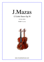 Cover icon of Little Duets Op.38, 12 - part I sheet music for two violins by Jaques Fereol Mazas, classical score, easy/intermediate duet