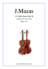 Cover icon of Little Duets Op.38, 12 - part I sheet music for viola and cello by Jaques Fereol Mazas, classical score, intermediate duet