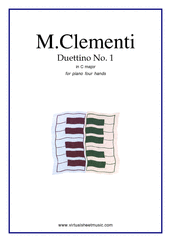 Cover icon of Duettino No.1 in C major sheet music for piano four hands by Muzio Clementi, classical score, easy skill level
