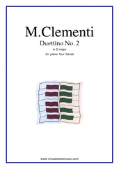 Cover icon of Duettino No.2 in G major sheet music for piano four hands by Muzio Clementi, classical score, easy skill level