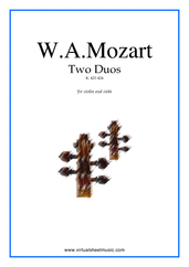 Cover icon of Two Duos K423-424 sheet music for violin and viola by Wolfgang Amadeus Mozart, classical score, intermediate/advanced duet