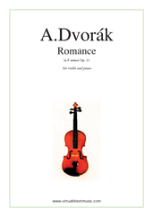 Cover icon of Romance in F minor Op.11 sheet music for violin and piano by Antonin Dvorak, classical score, intermediate skill level