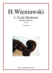 Cover icon of L' Ecole Moderne Op.10 sheet music for violin solo by Henry Wieniawski, classical score, advanced skill level