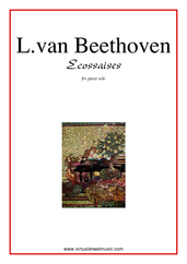 Cover icon of Ecossaises sheet music for piano solo by Ludwig van Beethoven, classical score, easy skill level