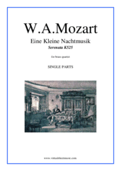 Cover icon of Eine Kleine Nachtmusik (parts) (NEW EDITION) sheet music for brass quartet by Wolfgang Amadeus Mozart, classical score, advanced skill level