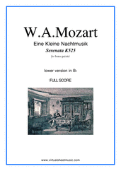 Cover icon of Eine Kleine Nachtmusik (in Bb) (COMPLETE) sheet music for brass quintet by Wolfgang Amadeus Mozart, classical score, advanced skill level