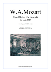 Cover icon of Eine Kleine Nachtmusik (f.score) sheet music for string quartet by Wolfgang Amadeus Mozart, classical score, intermediate skill level