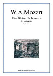 Cover icon of Eine Kleine Nachtmusik sheet music for piano solo by Wolfgang Amadeus Mozart, classical score, intermediate/advanced skill level