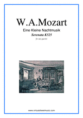 Cover icon of Eine Kleine Nachtmusik (parts) sheet music for saxophone quartet by Wolfgang Amadeus Mozart, classical score, intermediate skill level