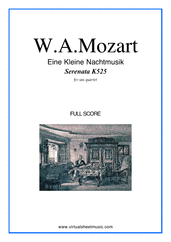 Cover icon of Eine Kleine Nachtmusik (f.score) sheet music for saxophone quartet by Wolfgang Amadeus Mozart, classical score, intermediate skill level