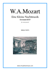 Cover icon of Eine Kleine Nachtmusik (parts) sheet music for wind quintet by Wolfgang Amadeus Mozart, classical score, advanced skill level