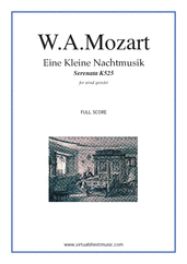 Cover icon of Eine Kleine Nachtmusik (f.score) sheet music for wind quintet by Wolfgang Amadeus Mozart, classical score, advanced skill level