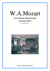 Cover icon of Eine Kleine Nachtmusik sheet music for wind quartet (2) by Wolfgang Amadeus Mozart, classical score, intermediate skill level