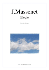 Cover icon of Elegie sheet music for voice and piano by Jules Massenet, classical wedding score, intermediate skill level