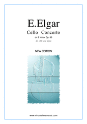 Cover icon of Concerto in E minor Op.85 sheet music for cello and piano by Edward Elgar, classical score, advanced skill level