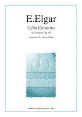 Cover icon of Concerto in E minor Op.85 sheet music for viola and piano by Edward Elgar, classical score, advanced skill level