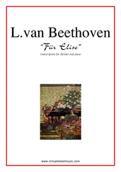 Cover icon of Fur Elise sheet music for clarinet and piano by Ludwig van Beethoven, classical score, intermediate skill level