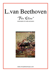 Cover icon of Fur Elise sheet music for cello and piano by Ludwig van Beethoven, classical score, easy/intermediate skill level