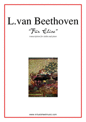 Cover icon of Fur Elise sheet music for violin and piano by Ludwig van Beethoven, classical score, easy/intermediate skill level